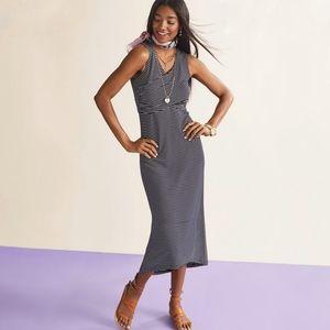 CAbi, Navy Stripe Hi-Lo Maxi Knit Launch Dress, XL
